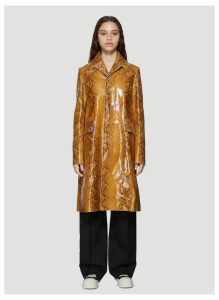 Marni Snakeskin Print Leather Coat in Brown size IT - 42