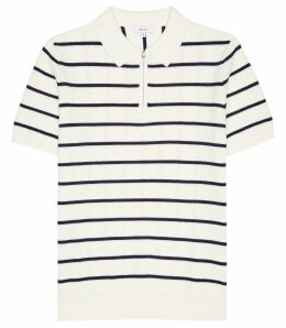 Reiss Tristain - Striped Zip Polo Shirt in White/Navy, Mens, Size XXL