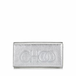 SANTINI Petit sac portefeuille en cuir nappa métallisé argenté