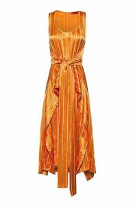 Striped midi dress with tie waist and volant overlay