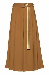 Midi skirt in midweight fabric with striped belt