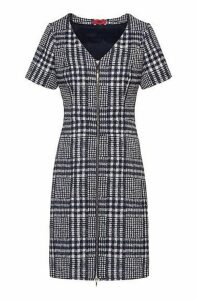 Glen-check A-line dress with full front zip
