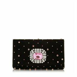 TITANIA Petit sac en daim noir à cristaux avec une pièce centrale sertie de bijoux