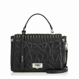 HELIA TOP HANDLE Sac à main en cuir nappa noir matelassé