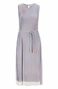 Belted plissé dress with colour-block hem