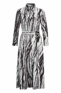 Belted midi shirt dress in zebra-print Italian twill