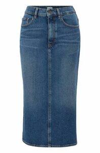 Stretch-denim midi skirt in mid blue with side split