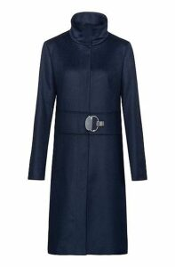 Stand-collar coat in a wool blend with cashmere