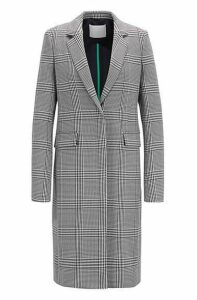 Glen-plaid coat in stretch fabric
