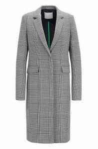Glen-plaid coat in stretch fabric