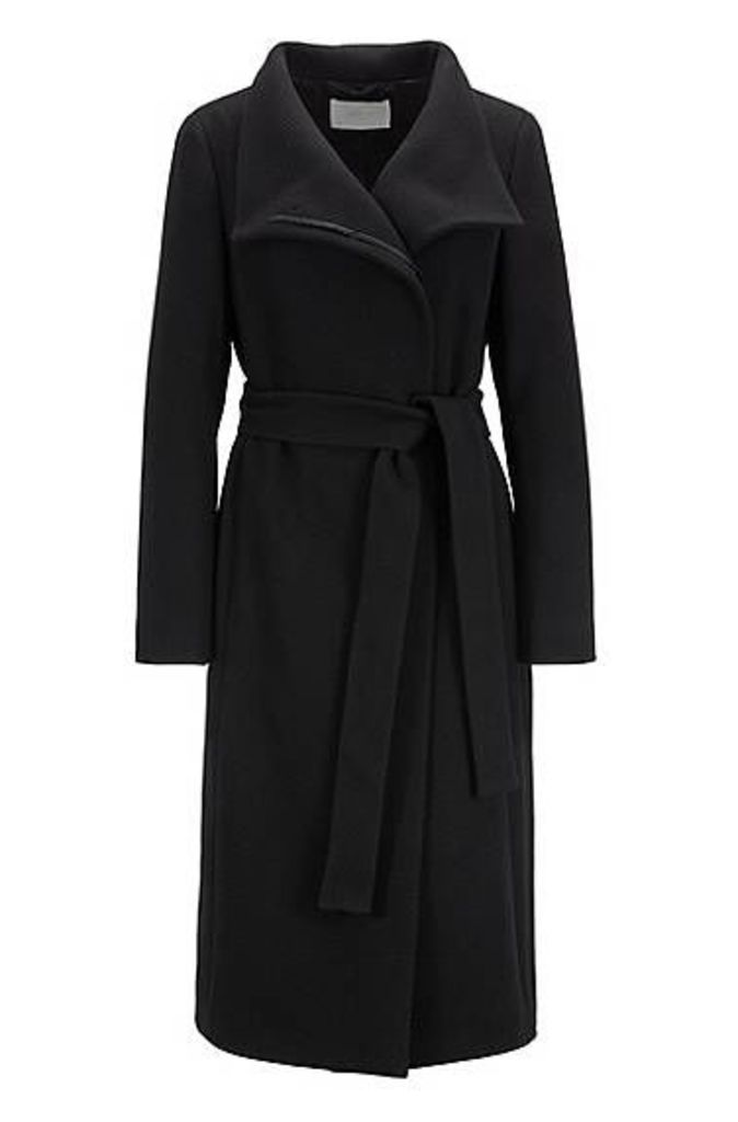 High-neck coat in a textured wool blend with cashmere