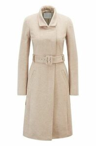 Belted coat in Italian virgin wool with high collar