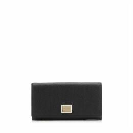 MARTINA Brieftasche aus genarbtem schwarzen Kalbsleder