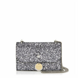 FINLEY Kleine Tasche aus stahlfarbenem Glitzergewebe mit Sternen