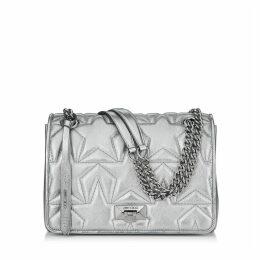 HELIA SHOULDER BAG Tasche aus Nappaleder in Anthrazit mit Matelassé-Optik