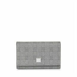 LIZZIE Mini-Tasche aus silbernem Glitzergewebe mit Prince of Wales Checkmotiv