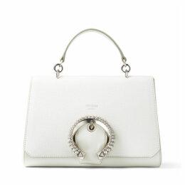 MADELINE TOP HANDLE Handtasche mit Tragegriff aus Ziegen- und Kalbsleder in Latte mit kristallbesetzter Schnalle