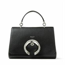 MADELINE TOP HANDLE Handtasche mit Tragegriff aus Ziegen- und Kalbsleder in Schwarz und kristallbesetzter Schnalle