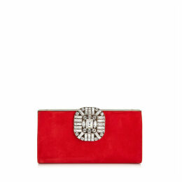LEONIS Clutch aus rotem Wildleder mit Druckknopfverschluss