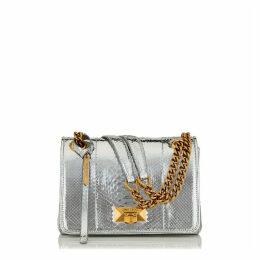 HELIA SHOULDER BAG/S Schultertasche aus Pythonleder in Silbermetallic mit Kettenriemen