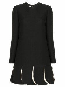 Valentino pleated contrast hem mini dress - Black
