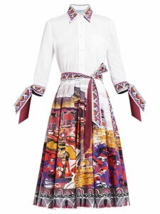 Prada Beijing print shirt dress - White