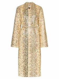 Bottega Veneta python-print belted coat - Neutrals