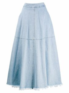 Federica Tosi frayed edge long skirt - Blue