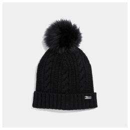 Coach Knit Hat With Shearling Pom Pom