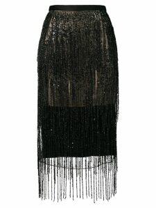 Christopher Kane satin fringe skirt - Black