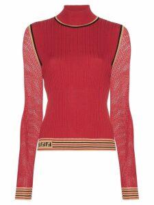 Fendi ribbed knit turtleneck top - Red