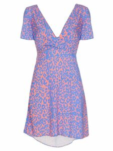 Double Rainbouu leopard print tie-back mini dress - Purple