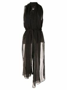 Masnada belted scarf shirt - Black