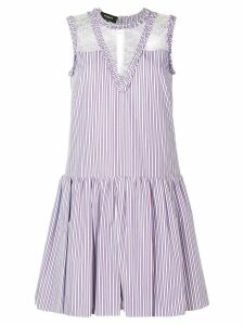 Rochas lace insert striped dress - Neutrals