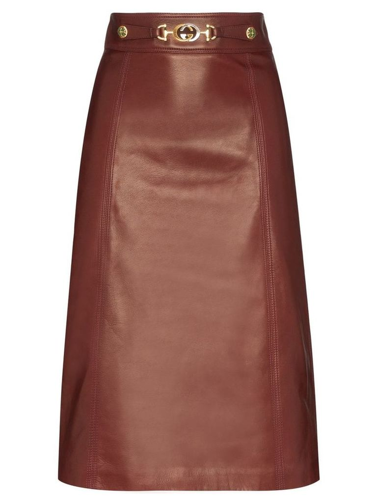 Gucci horsebit detail midi skirt - Brown