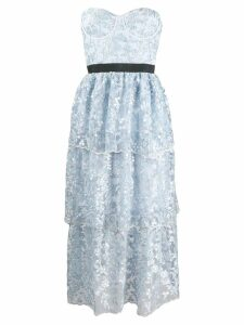 Self-Portrait strapless tiered dress - Blue