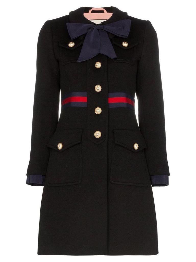 Gucci web-trimmed coat - Black