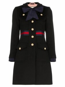 Gucci web-trimmed coat - Black