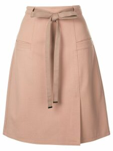 Tibi Bond Stretch Knit A-Line Skirt - NEUTRALS