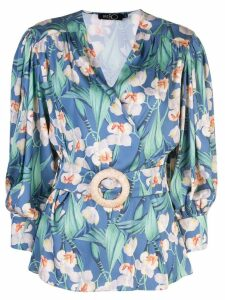 Patbo floral belted wrap top - Blue