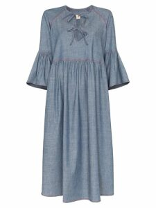 Marni bow front denim dress - Blue