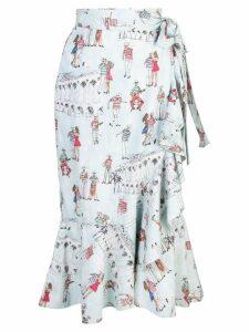 Patbo printed wrap midi skirt - Blue
