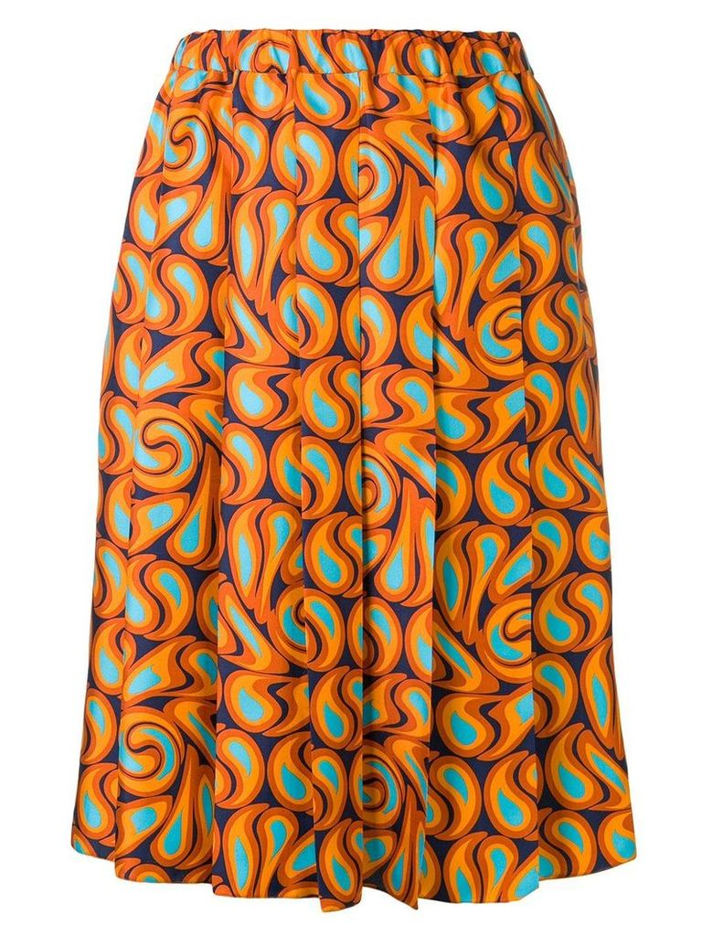 Marni pleated graphic print skirt - ORANGE