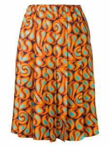 Marni pleated graphic print skirt - Orange
