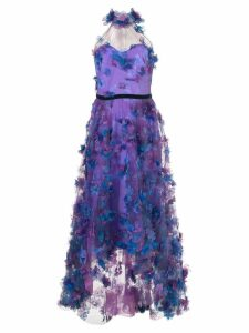 Marchesa Notte floral embroidered dress - Purple