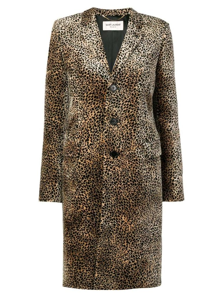 Saint Laurent Chesterfield leopard print coat - Brown