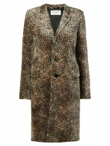 Saint Laurent leopard print single-breasted coat - Brown