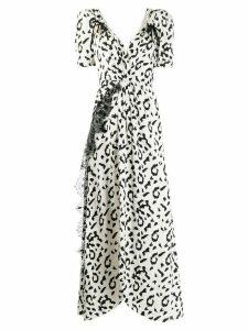 Self-Portrait leopard print long dress - White
