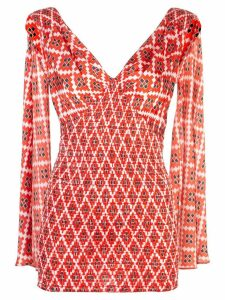 Paco Rabanne geometric print top - Red