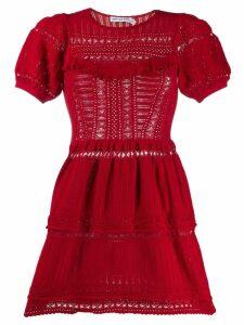 Self-Portrait knitted mini dress - Red